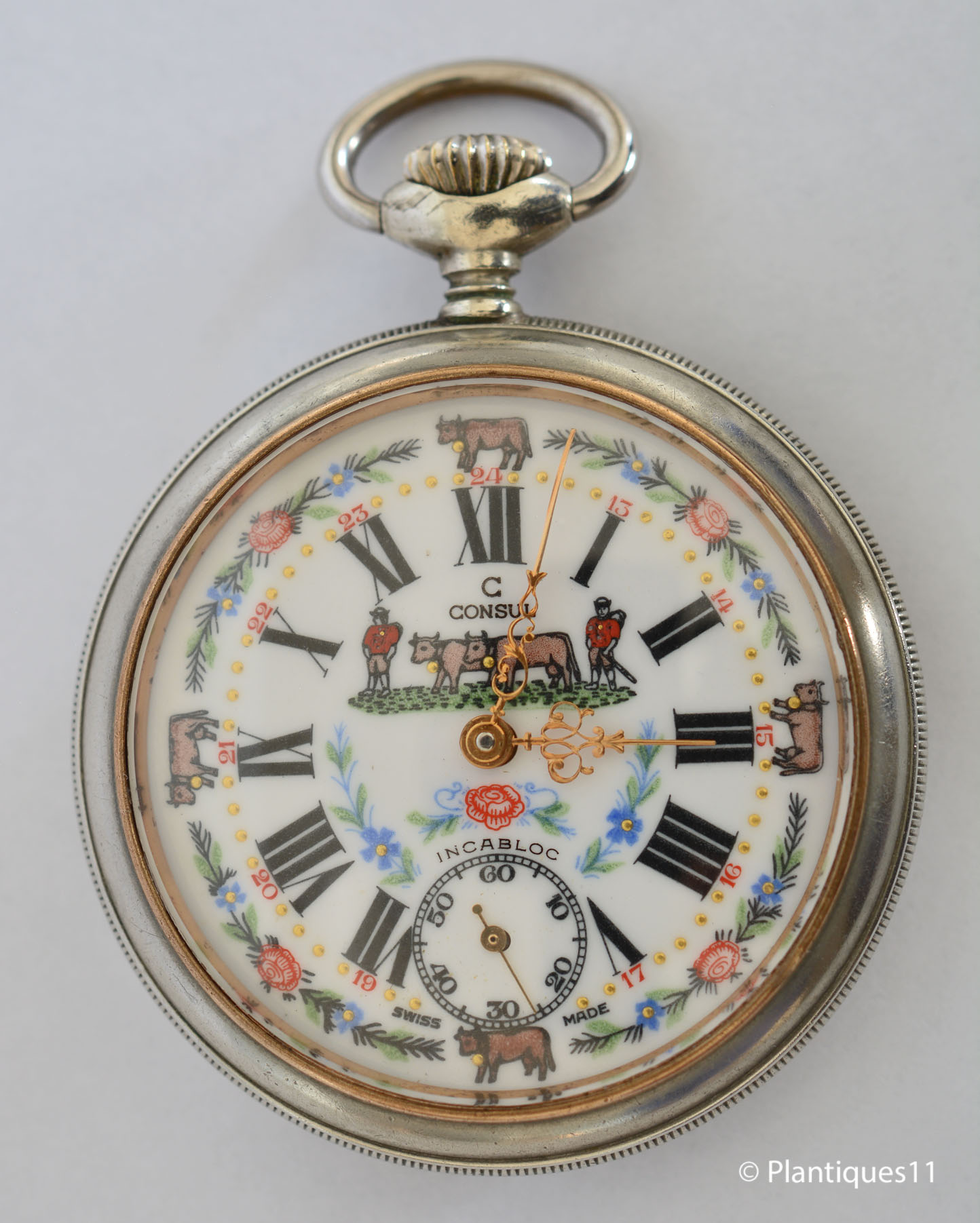 Farm cow theme dial consul swiss 53mm pocket watch unitas for Consul definition